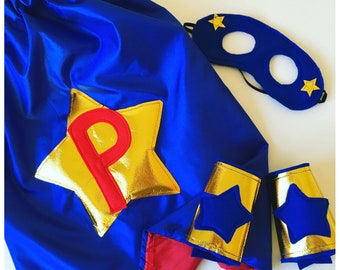 Personalised Kids Cape, Boys Superhero Costume,  Kids Superhero Costume, Superhero Cape Mask, Superhero Party Gift. Choose colours + letter.
