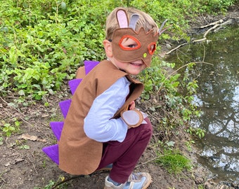 World Book Day Costume for Kids-Adult, Brown Monster Costume, Adult Halloween Monster Outfit, Kids Monster Story Costume, Robbins Bobbins