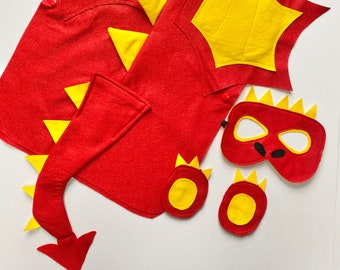 Kids Dragon Costume, Dragon Dress Up, Welsh Dragon Costume, Chinese Dragon Felt Costume, Halloween Dragon Outfit, Adult Red Dragon Costume