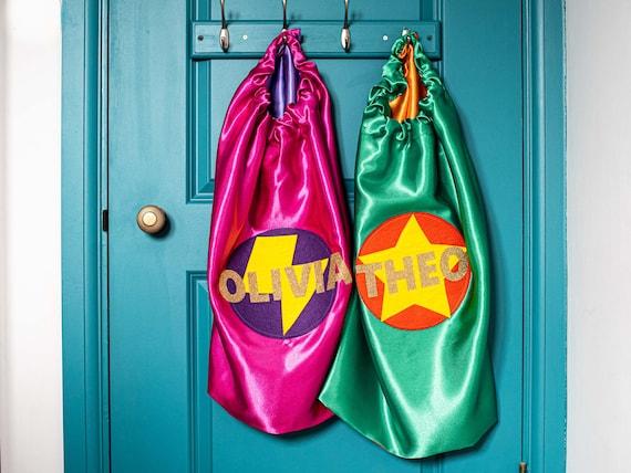 Kids Superhero Cape, Personalised Super Hero Birthday Cape, Kids Custom Superhero Cape, Kids Satin Superhero Costume. CHOOSE COLOUR & NAME.
