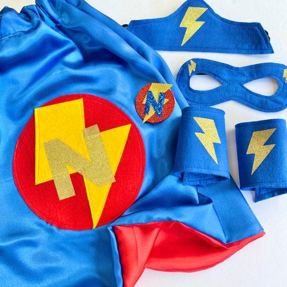 Personalised Superhero Cape, Kids Satin Superhero Party Cape, Fully Lined Satin Superhero Cape, Kids Super Hero Mask, Superhero Accessories.