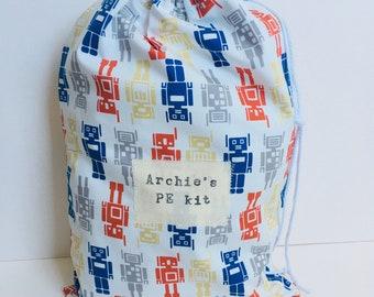 Adult Swim Bag, Custom Kit Bag, Kids Peg Bag, Custom Dance Bag, School Peg Bag, Name PE Bag, Kids Laundry Bag, P E Bag. Choose fabric+ words
