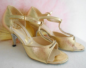 7abcd7564d28 Awesome 1930 s Style Freed of London Gold Dance Tap Ballroom Shoes Never  been Worn