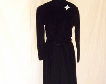 1950's Black Open Back Velvet Dress with Pearl Buttons