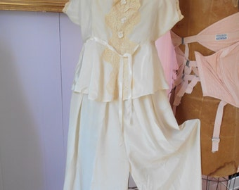 Beautiful 1930's Ivory/Off-white Silk Pajamas/Lingerie part of Wedding Trousseau
