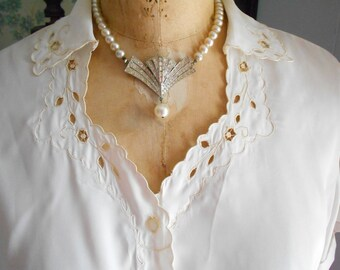 Simple Off White 1950's Button Down Blouse