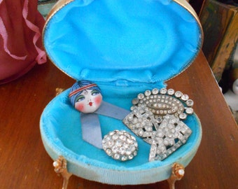 Cute Little Blue 1940's Jewelry Box/Holder with Claw Foot Feet