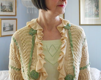 Pretty 1930's Knitted Bolero Jacket with Green Ribbon Woven