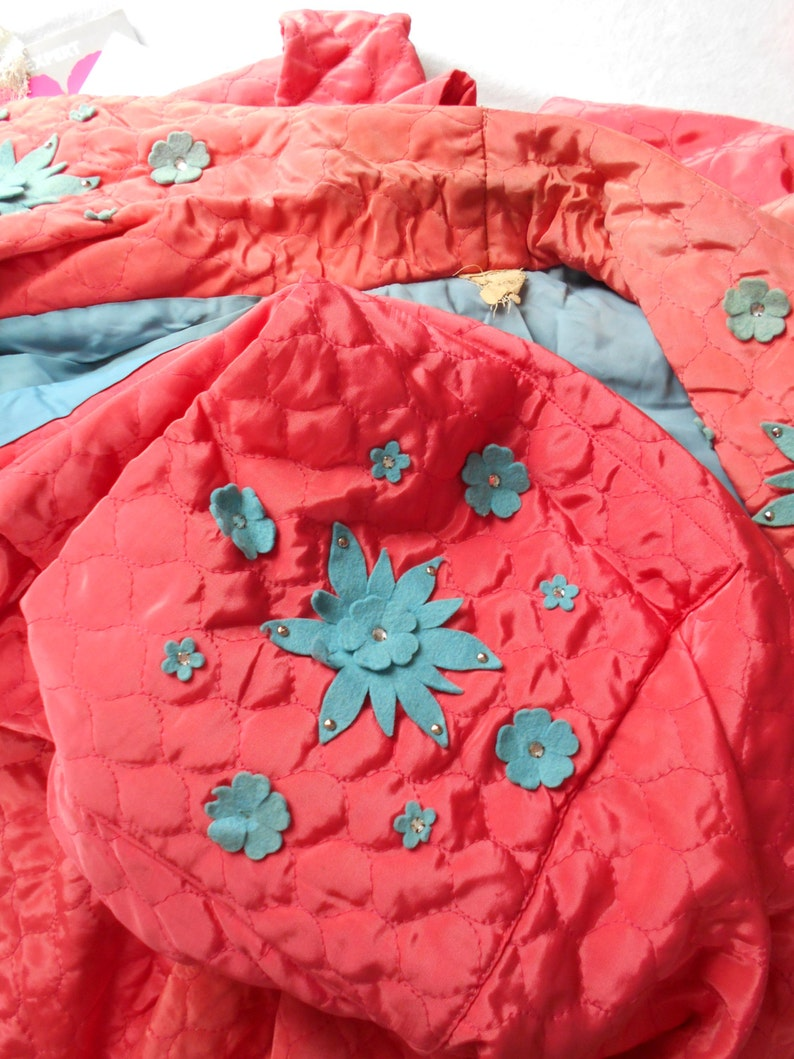 Glamorous 1940/'s CoralBlue Quilted Dressing Gown