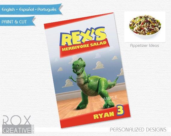 Toy Story Food Label 4 x 6 Design, Digital Custom Design, Rex