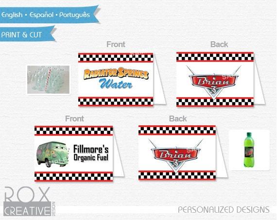Cars Food Tents, Disney Car food labels, Digital Design
