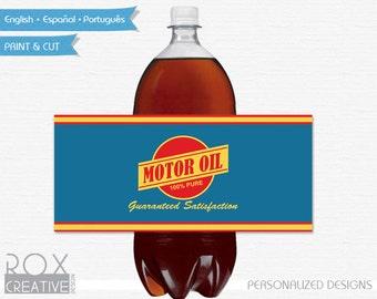 Cars Birthday Motor Oil 2 Liter Soda Labels, Disney Cars Printable Labels, Digital - Customized