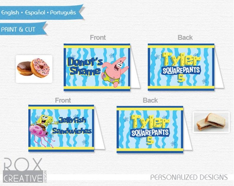 image 0  sc 1 st  Etsy & Spongebob Birthday Food Tents Spongebob Food Labels Digital | Etsy