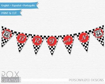 Disney Cars Banner Name Racing Flag, Route 66, Disney Cars Printable Banner, Digital - Customized