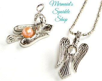 Angel Pearl Cage Pendant, Angel Cage, Pearl Pendant, Pearl Cage, Angel Pendant,Silver Pearl Cage Angel locket, Pearl & Chain sold separately