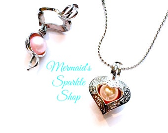 Victorian Heart Pearl Cage Locket Pearl Cage Pendant Heart Pendant Filagree Opening Locket Open Heart Pearl Pendant best Valentines gifts