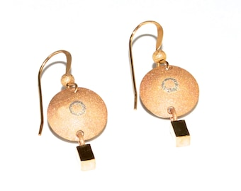 "Dangle glimmer earrings, 14 karat inlaid sterling, round ""shield"", sand blasted, high polish dangle, catches light, 14K french hook, 3.9g"