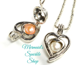 Pearl Cage Pendant, heart Pearl Cage, Pearl Pendant, Pearl Cage, Heart Pendant, Silver Pearl Cage, Heart Cage, Chain & Pearl sold separately