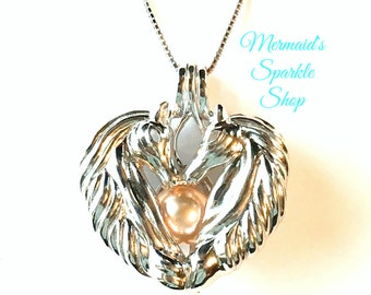 Sterling Horse Pendant, Horse Pearl Cage, Horse Necklace, Pearl Horse Locket,Add an Oyster Pearl to put inside,Pearl & Chain Sold Separately