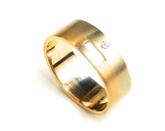Men's Cutout Wedding Band with Diamond, 2 metals, 14K Golds: White & Yellow shown. Custom-made with Your choice of metals, stone, size.