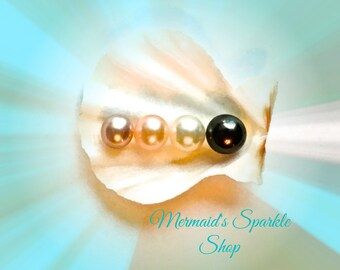 Freshwater Pearl Oyster Open Your Own Guaranteed a Pearl Possible 2 Pearls Unique Experience Fun Ladies Day 6-9.5mm Round A+ Pearl Inside