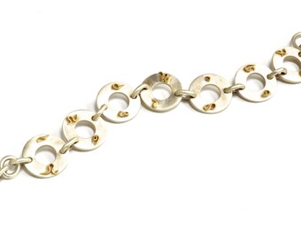 """Heavy Sterling & 18K Gold Toggle """"Rune"""" Bracelet. Designer Original, Cast and Fabricated, Signed and Stamped by Artist"""