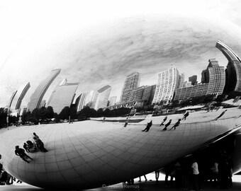 Chicago Cloudgate sculpture photograph black and white wall decor Chicago Bean sculpture