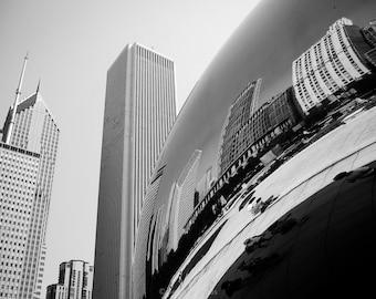Chicago Cloudgate sculpture photograph black and white wall decor Chicago Bean sculpture Chicago skyline art