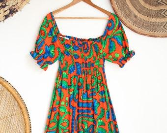 Vintage orange psychedelic 70s folk smock gypsy maxi dress M