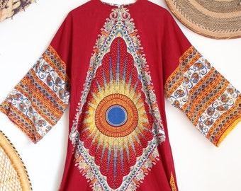 20f0468b66268 Vintage burgundy dashiki boho gyspy 70s hippy cotton indian ethnic maxi  smock dress S M L