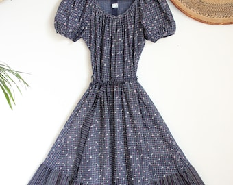 4d258a17 Vintage blue check stripe floral boho hippie folk Vera Mont 70s gypsy midi  maxi dress S