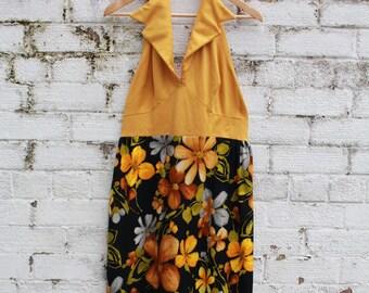 Vintage brown mustard yellow floral halter neck go go 60s 70s maxi dress S M