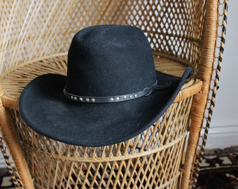 a2a3ae6ede7 Vintage black western Mexican wool stud cowboy hat S small festival