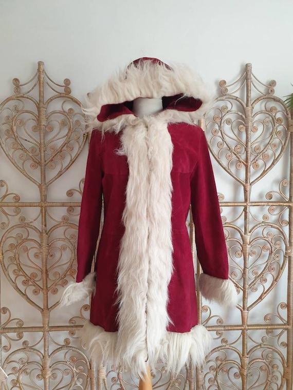 Vintage real suede afghan hoodie hoody faux Fur co