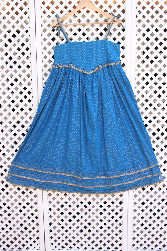 Vintage blue floral Ayesha Davar cotton hippy Ind… - image 1