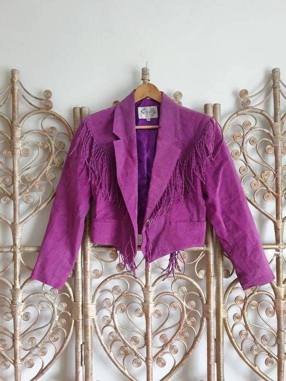 Vintage purple fringe tassel leather suede biker w