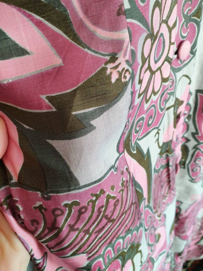 Vintage pink green grey Raw silk floral flower power Psychedelic 60s 70s maxi sleeveless shirt blouse dress M