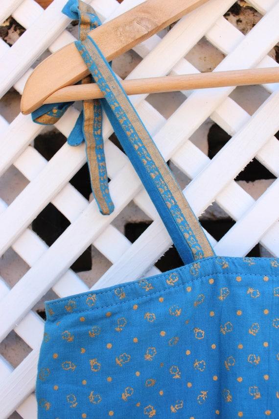 Vintage blue floral Ayesha Davar cotton hippy Ind… - image 4