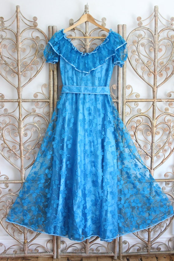 Vintage 70s Blue Maxi Dress A Line Boho Hippie Lace Ribbon Small S 10828 vintage dress 70s dress blue dress maxi dress aline dress small