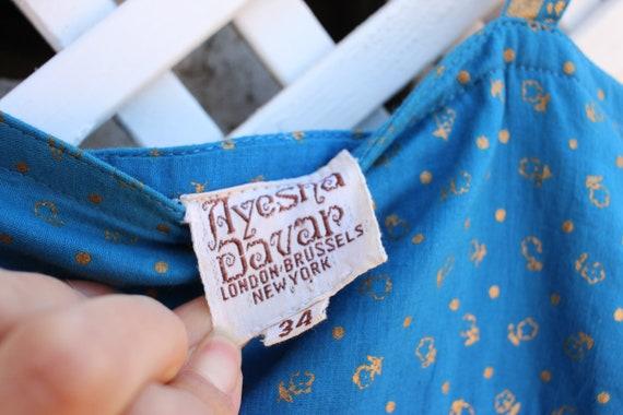 Vintage blue floral Ayesha Davar cotton hippy Ind… - image 6