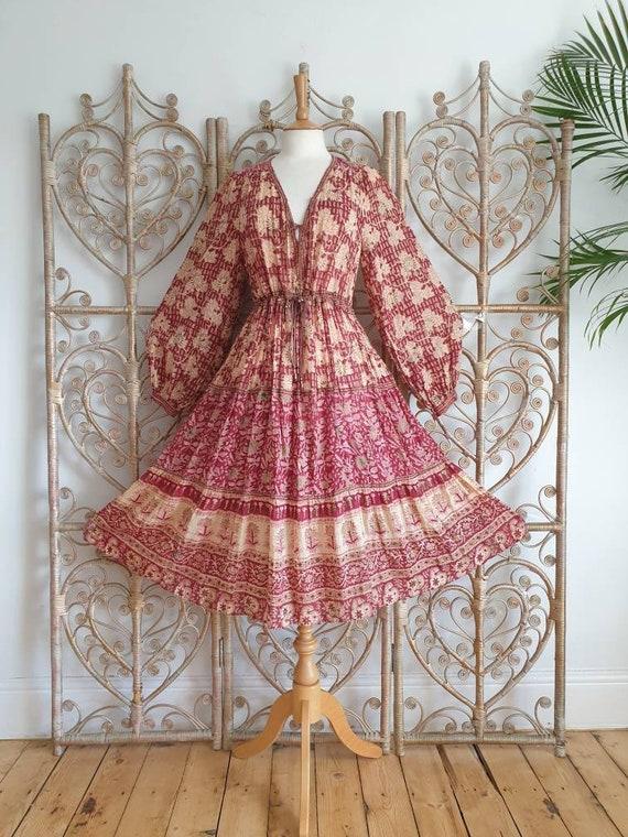 Vintage floral paisley Phool cotton hippy Indian 7