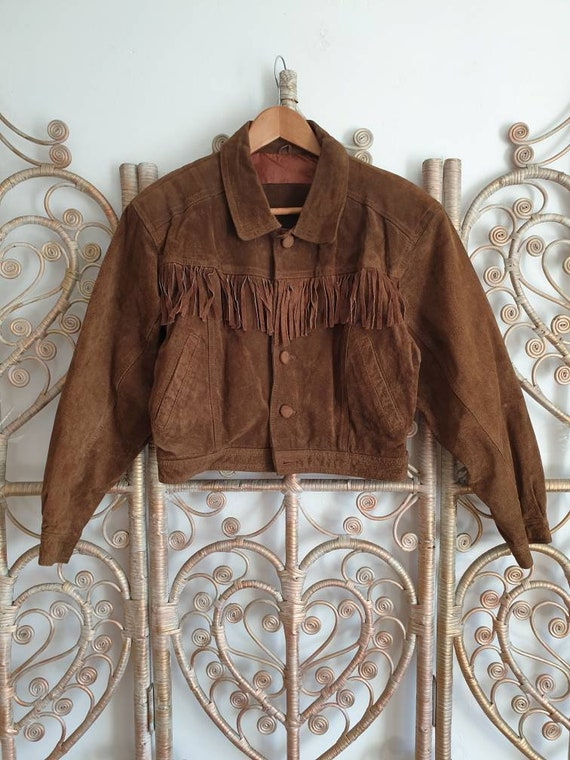 Vintage brown fringe tassel leather suede biker we