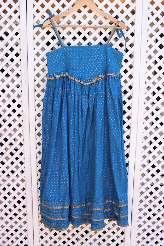 Vintage blue floral Ayesha Davar cotton hippy Ind… - image 2