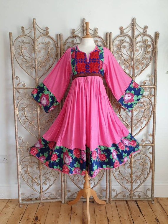 Vintage pink patchwork floral embroidered Cotton A