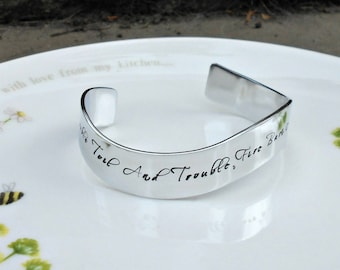 William Shakespeare Macbeth Quote Cuff, Double Double Toil and Trouble, Literary Gifts, Literary Quote Jewellery, Shakespeare Bracelet.