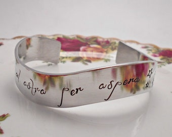 Ad Astra per Aspera, Latin Quote Cuff Bracelet.  A rough road leads to the stars.  Latin quote jewelry.  Customised Bracelet. Gifts for her.