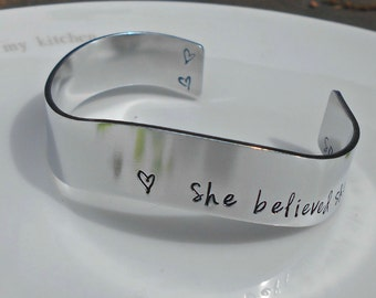 Inspirational Bracelet|She Believed She Could So She Did|Gifts for her|Daughter Gift|Inspirational Jewellery, Inspirational Bracelet