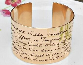 Bronze Shakespeare Quote Bracelet, Love Comforteth, Literary Quote, Shakespeare Bracelet, Venus & Adonis, Bronze Anniversary,  Literary Gift