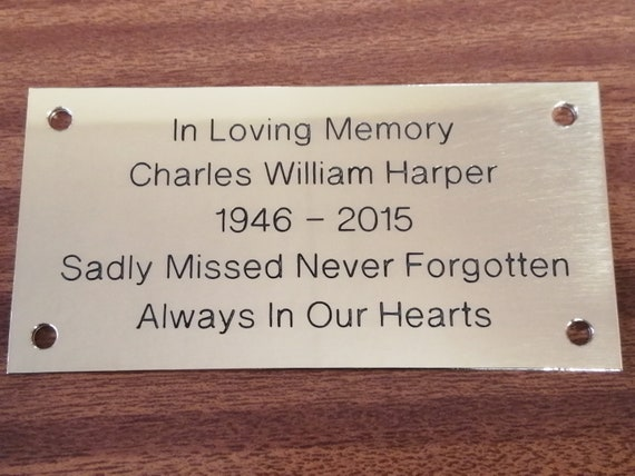 Bench Plate in Silver or Brass Effect Engraved Sign Memorial Plaque Door Sign