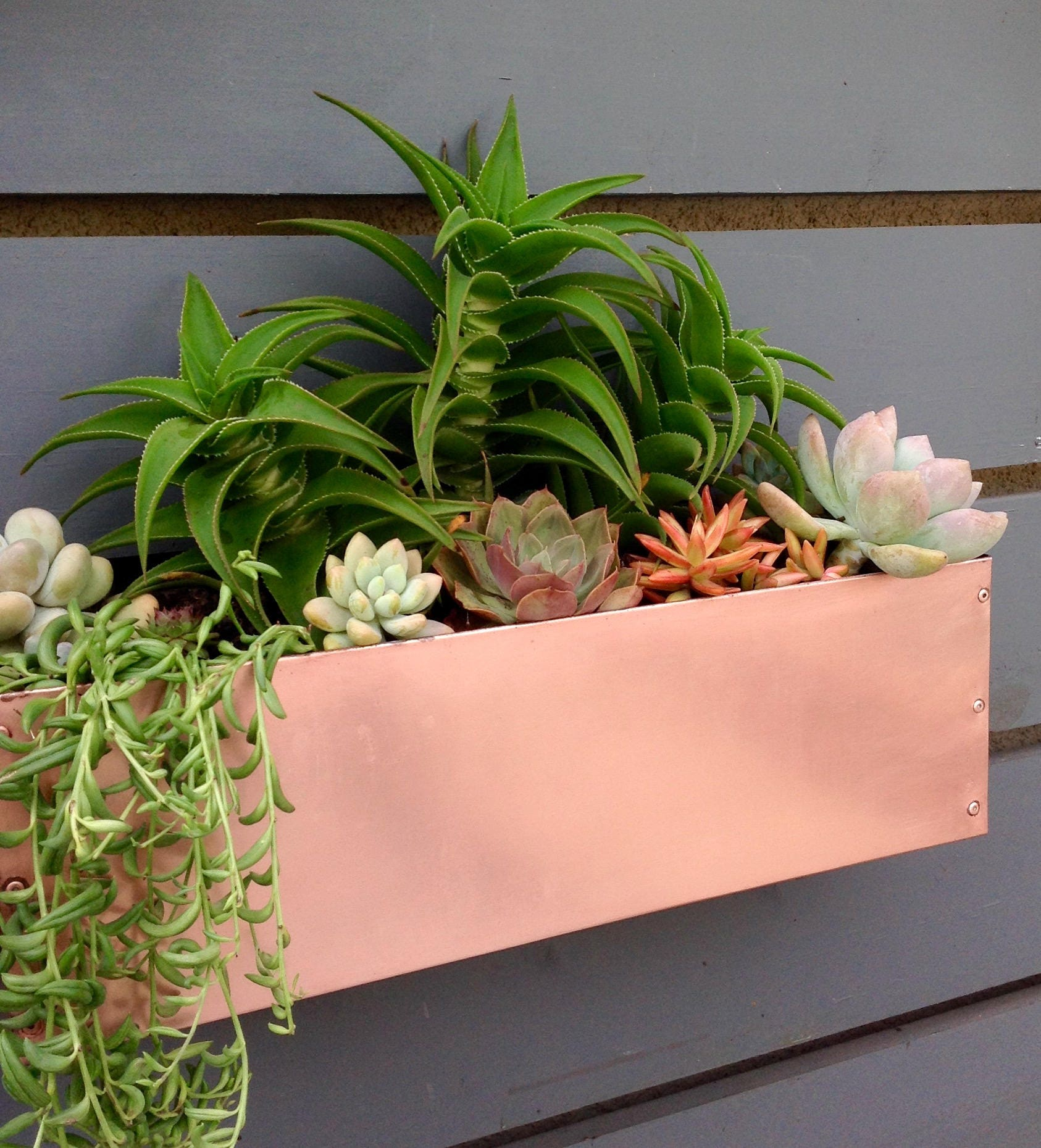 zoom Copper Hanging Planter Box Horizontal Fence